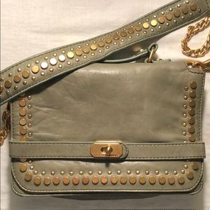 Rebecca Minkoff gray leather crossbody gold chain